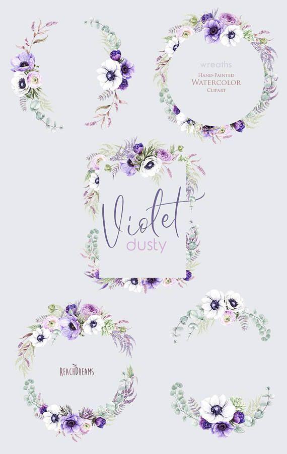 Wedding Watercolor Wreaths Dasty Violet Anemone Flowers