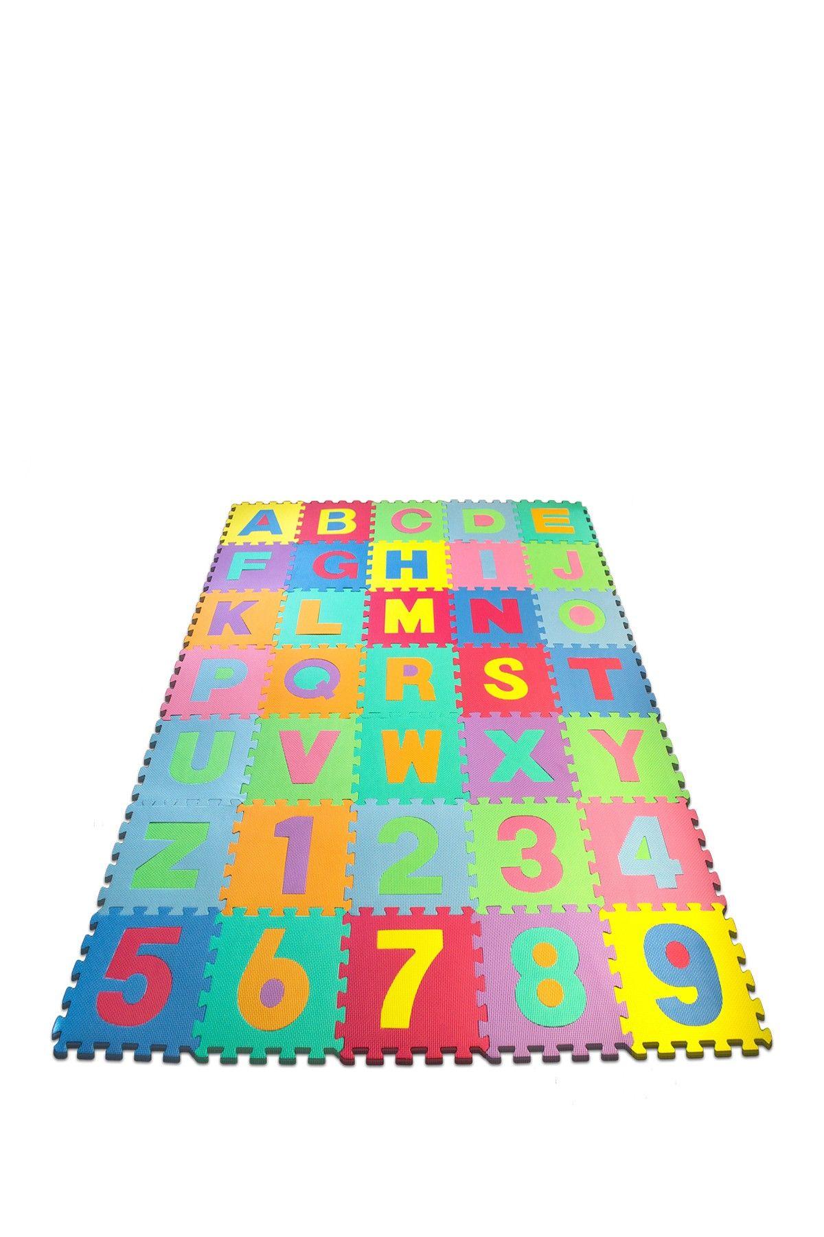 Sorbus Multi Foam Floor Alphabet Number 36 Piece Puzzle Mat Foam Flooring Puzzle Mat Flooring
