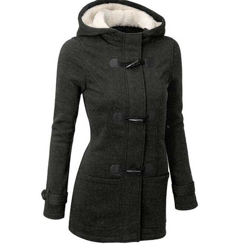 65329c7d6c1 2016 Musim Gugur Musim Dingin Wanita Hangat Zip Tebal Bulu Pakaian Luar  Berkerudung Kaus Hoodies Mantel