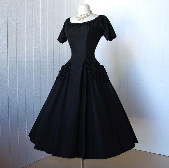 1950s Suzy Perette black taffeta cocktail dress