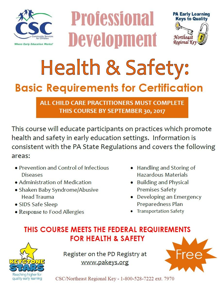 Health and safety professional development to meet basic