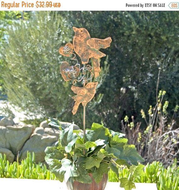 On Sale Bird Plant Stake Art Sculpture Garden Art Indoor