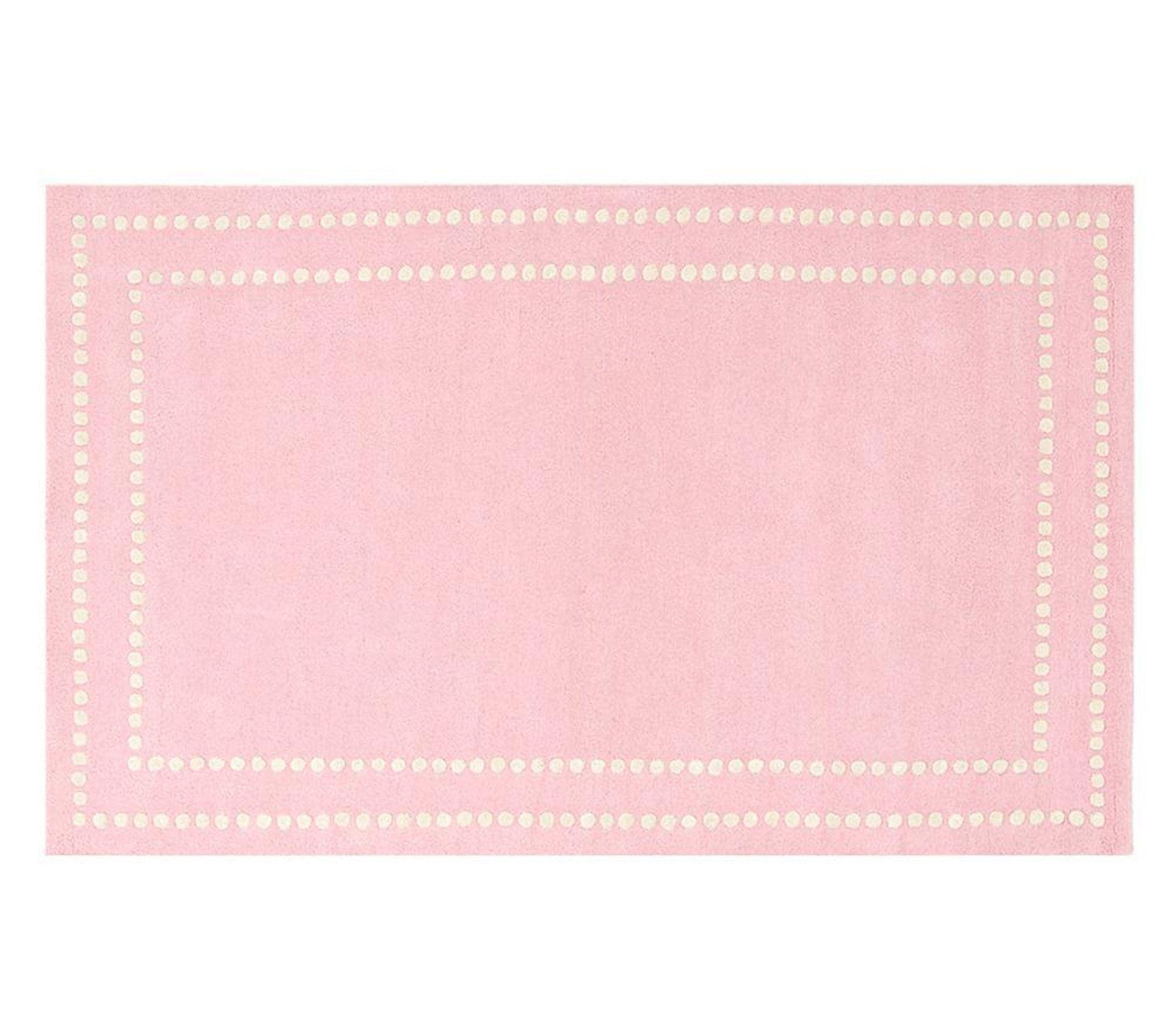 Pearl Dot Border Rug Light Pink