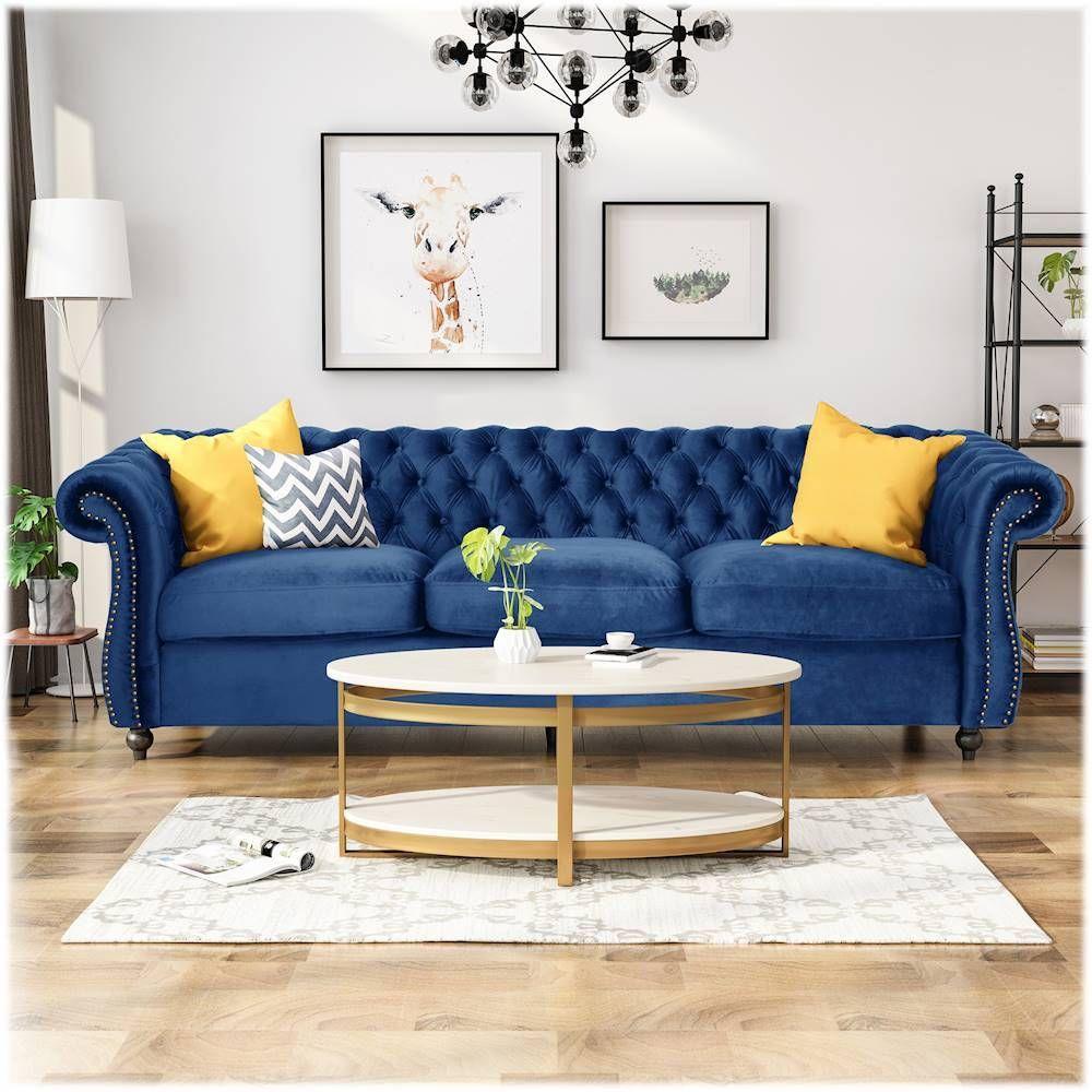 Noble House Fruto Chesterfield Tufted Sofa Navy Blue 307706 Best Buy Velvet Sofa Living Room Blue Sofa Living Blue Couch Living Room