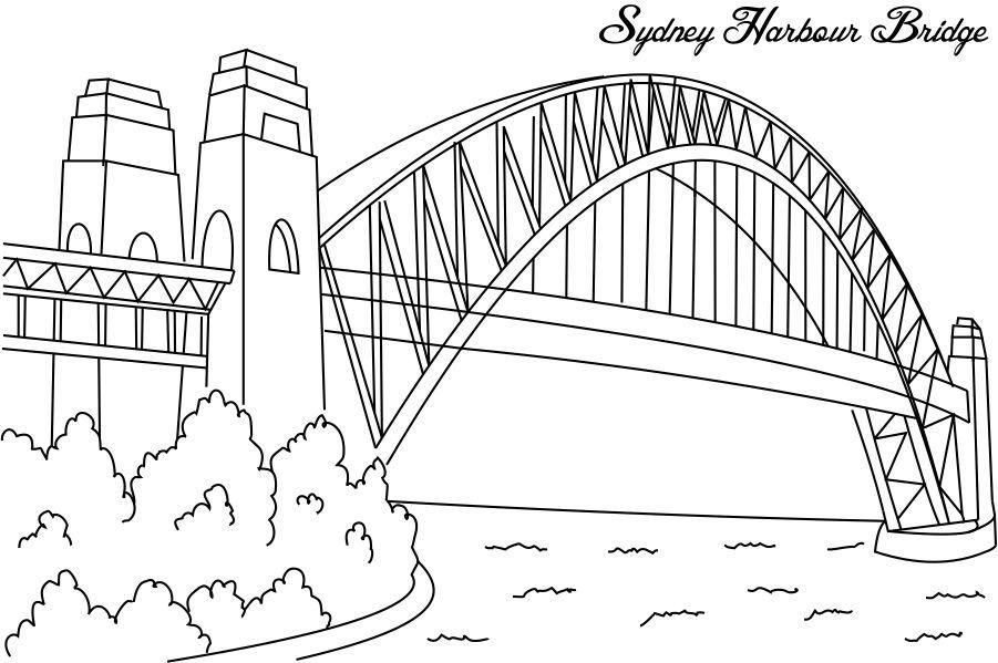 Google Image Result For Http Www Studyvillage Com Attachments Resources 3350 29316 Sydney Harbour Bridg Bridge Drawing Coloring Pages Coloring Pages For Kids