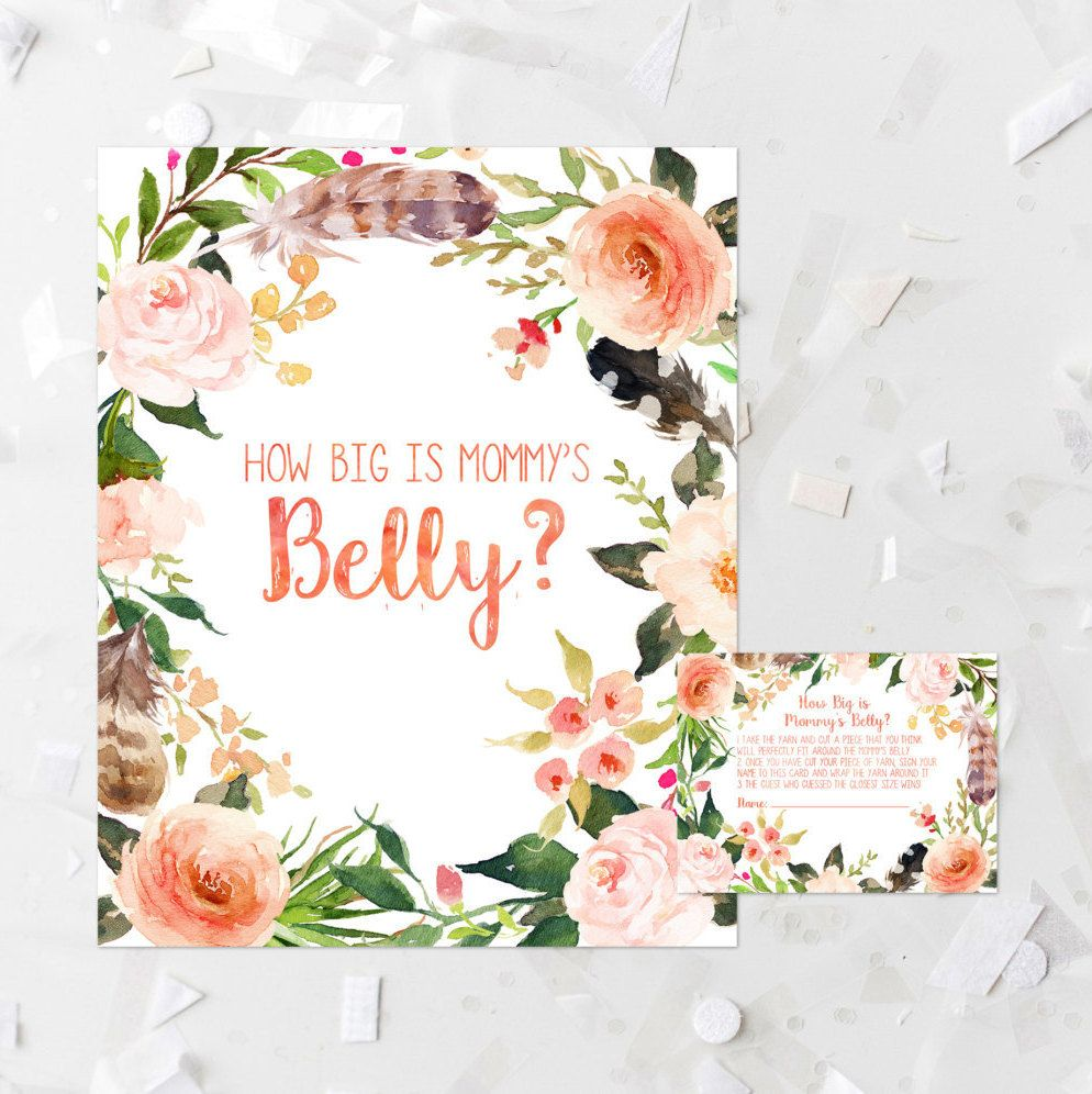 Floral How Big Is Mommys Belly Game Printable Bohemian Baby Shower
