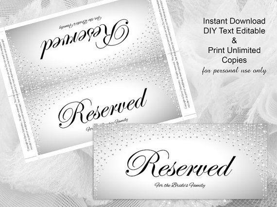 DIY Printable Wedding Reserved Sign Template | Editable MS Word file ...