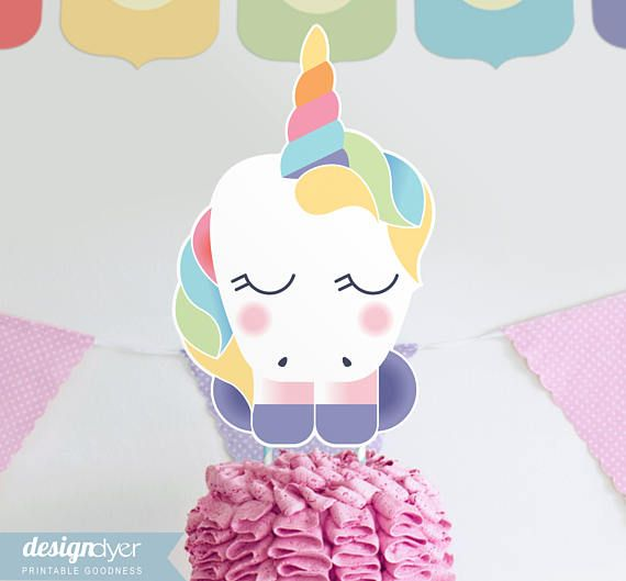 Rainbow Unicorn Cake Topper DIY Printable Party Sign INSTANT