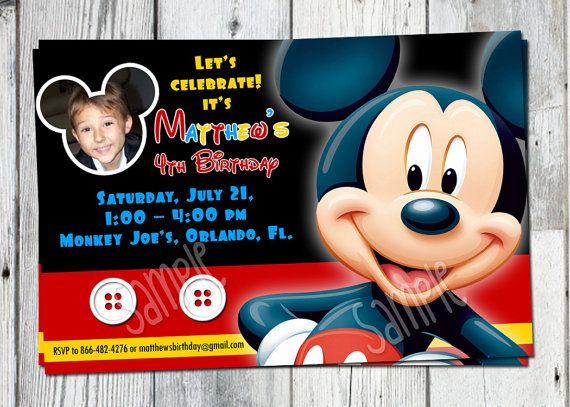 mickey mouse party invitations personalized