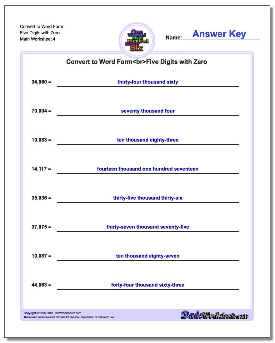 Convert To Word Form Worksheet Five Digits With Zero Standard