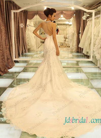 Sexy beading tassels low back halter neck lace mermaid wedding dress ...