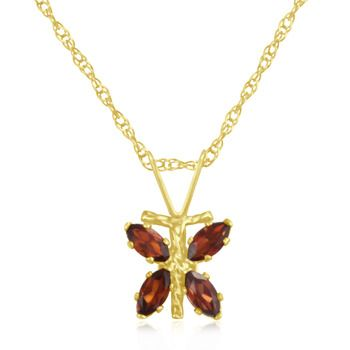 CLEARAhNCE! 1/3 Carat Garnet Dragonfly Pendant in 10K Yellow Gold
