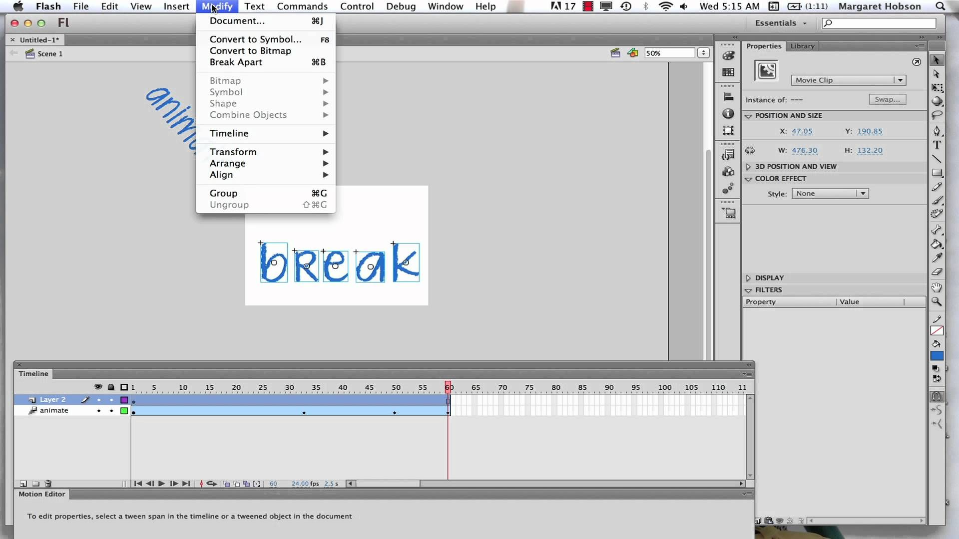 Animating Text in Flash CS6 Text, Insert text, Flash