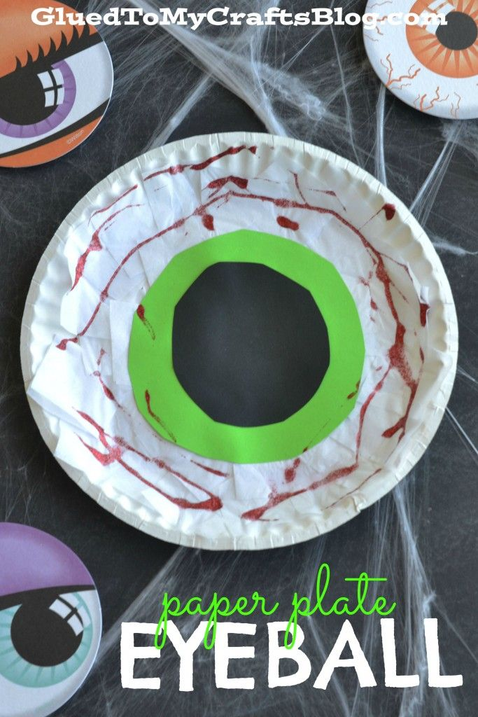 Paper Plate Eyeball - Halloween Kid Craft