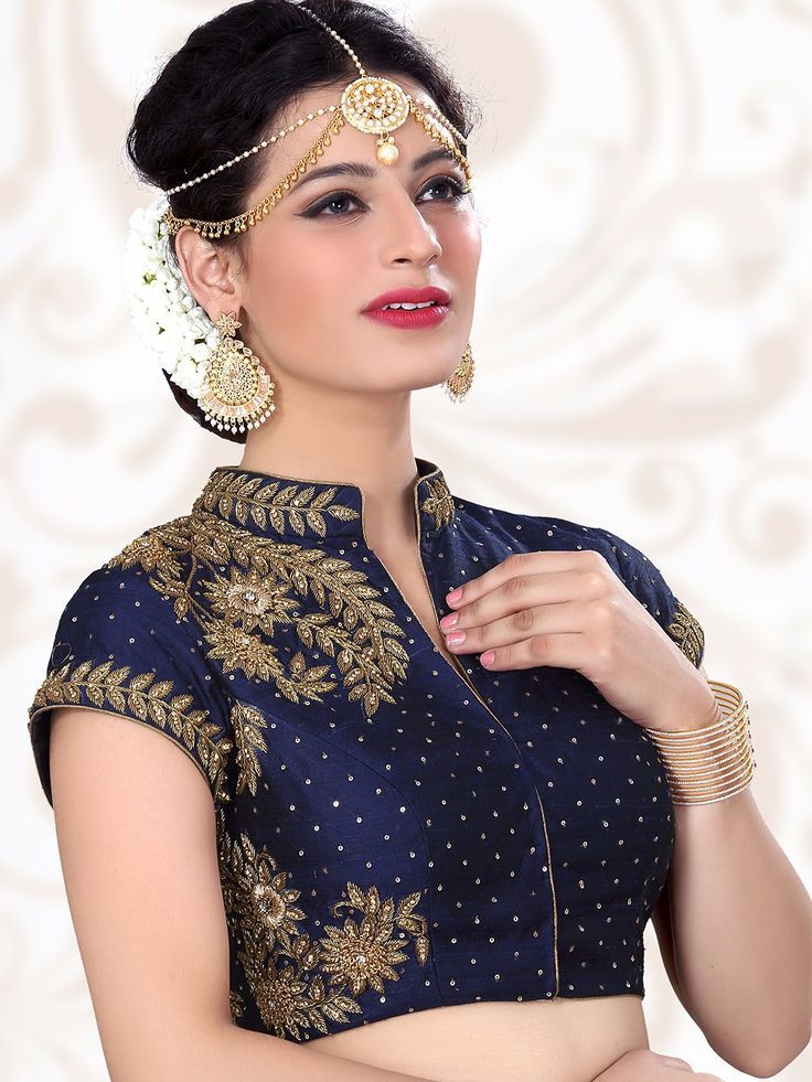 47c3b69b203d1 Navy Designer Ready Made Raw Silk Blouse For price or detail do whats App  +91