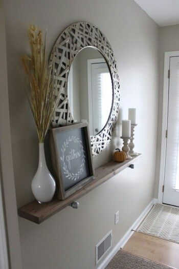 Love this entryway decor my entry is too narrow for a for Narrow wall mirror decorative