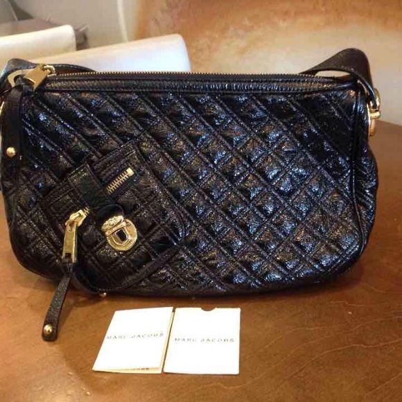 Marc Jacobs Black Patent Leather Quilted Handbag