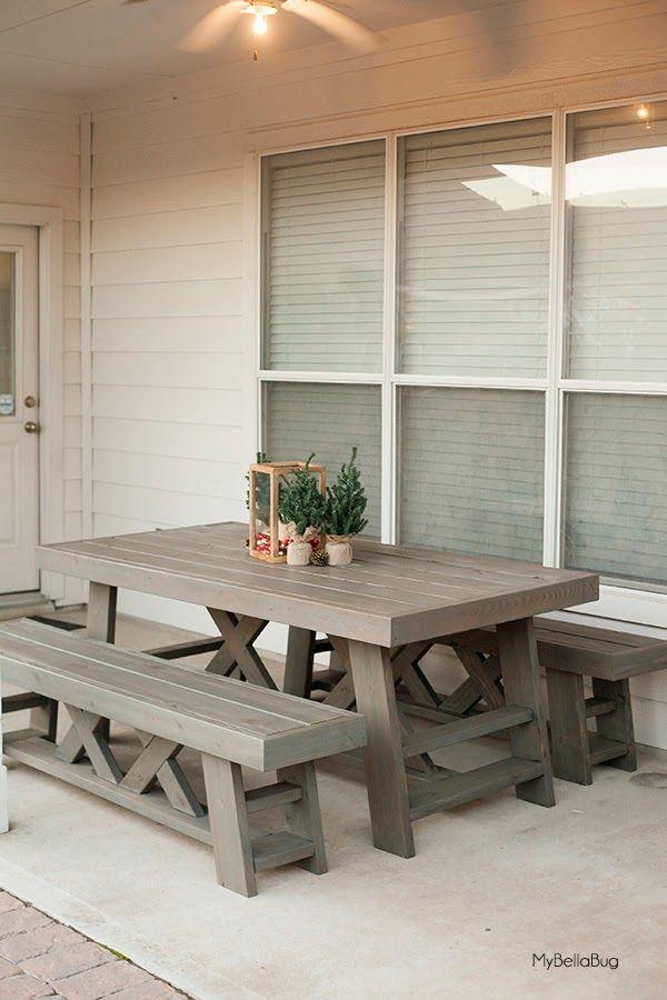 MyBellaBug : DIY Patio Table & Benches | Υπόστεγα | Pinterest ...