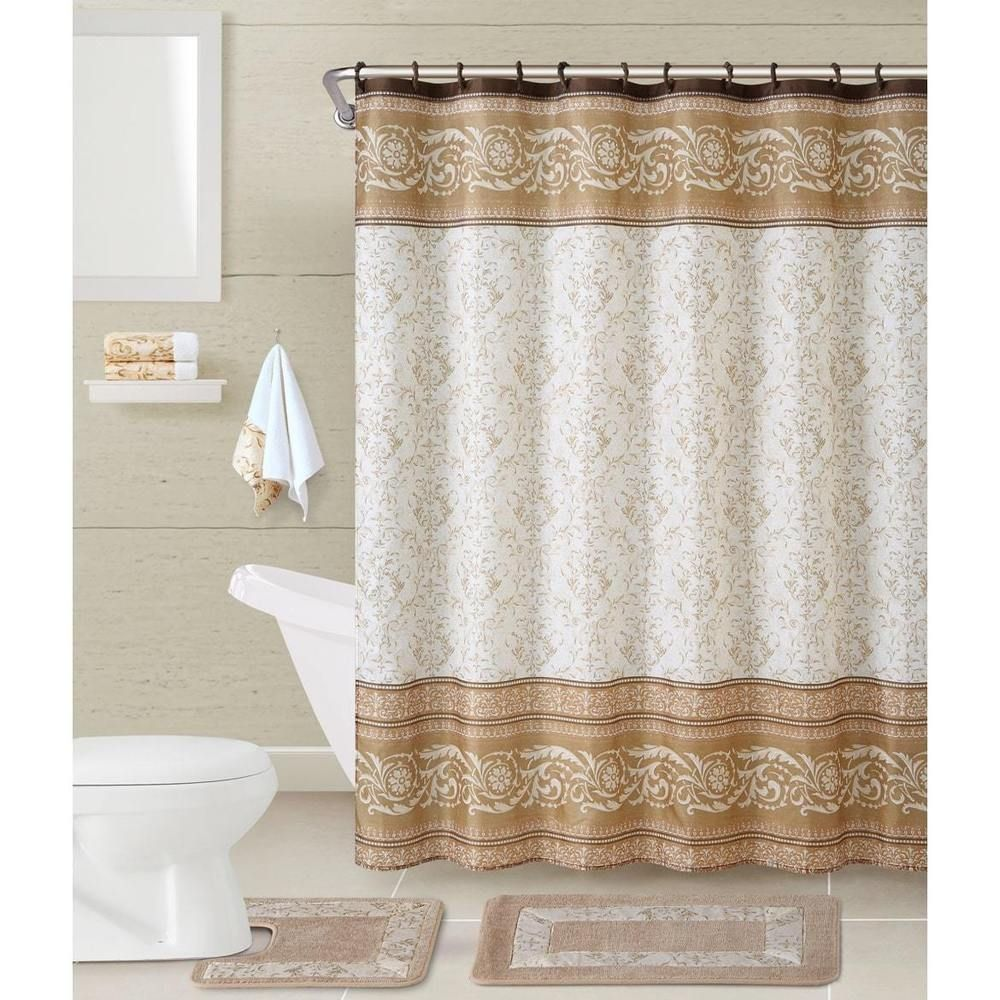 Dorm Complete Bathroom Set Taupe Roma 17 Piece Bath In A Bag
