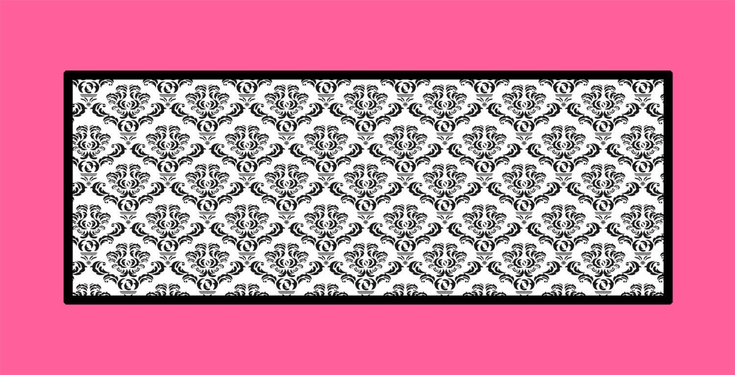 Black & White Damask and Hot Pink Rug Fuzzy area rug