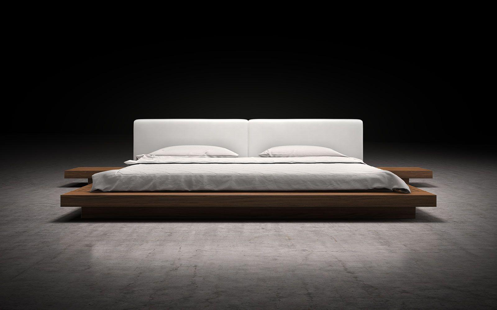 Worth White Leather Platform Bed Leather platform bed