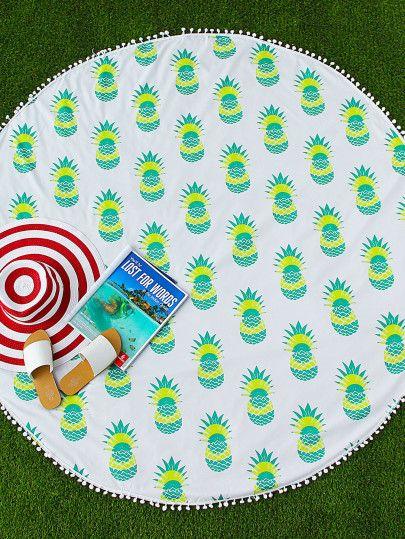 Verde Ananas Stampa Pom Pom Trim rotonda Beach Blanket