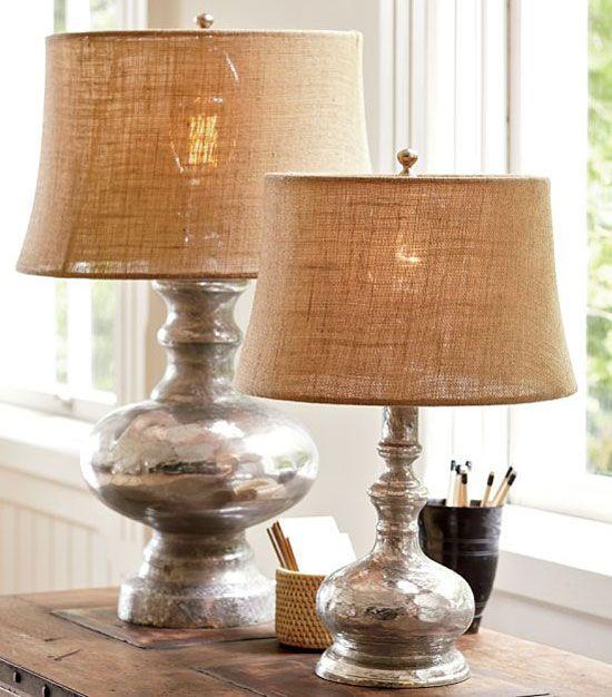 Attractive Burlap Lamp Shades Mercury Glass Lamp