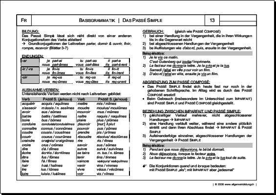 Französisch | Arbeitsblatt Passé Simple Grammatik | 8500 Übungen ...