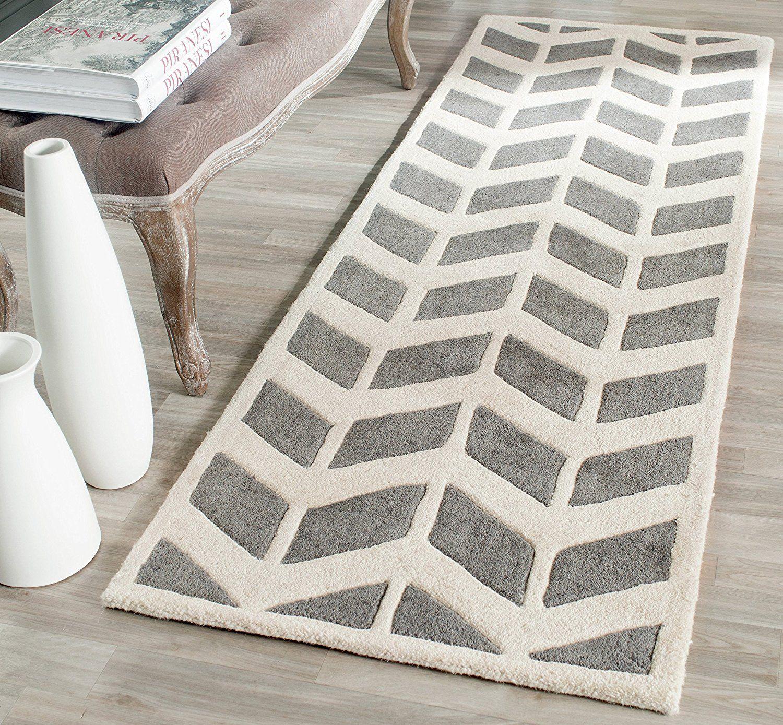 Safavieh Brenna (handgetuftet Teppich, Dunklen Grau/elfenbeinfarben ...