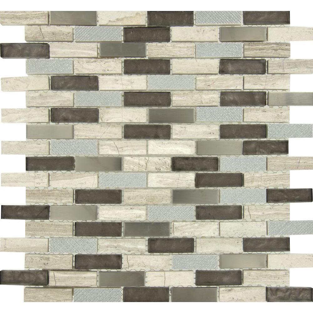 Premier Decor Tile By Msi Msi Diamante Brick 12 Inx 12 Inx 8 Mm Glassstone Meshmounted