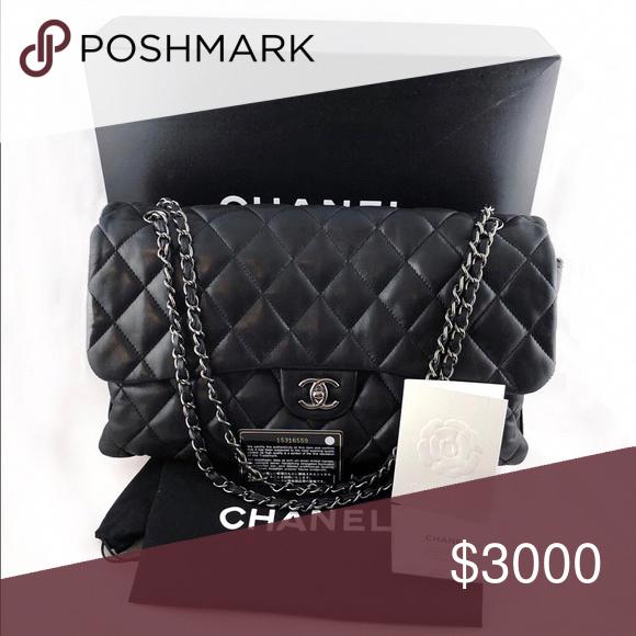 c7183b390feb Authentic Chanel Flap Bag Lambskin Maxi SHW Authentic Chanel Classic Flap  Bag in Maxi size, featuring silver hardware, CC logo clasp & chain.