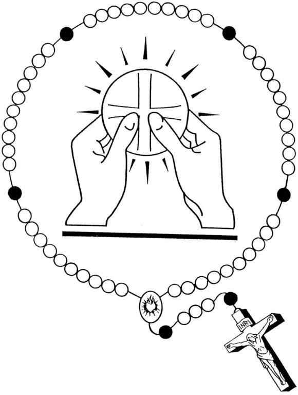 Holy Eucharist And Rosary Catholic Coloring Page