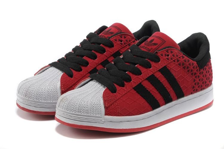 Adidas Superstar Shoes Red Black