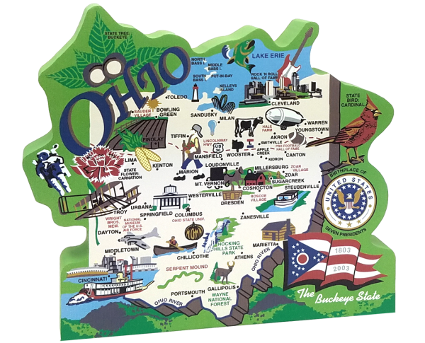 Ohio State Map Featuring The Ohio Flag Cardinal Buckeye Tree And Other Significant Ohio Icons Ohio Mean In 2020 Osu Football Osu Cowboys Outfit Osu Cowboys Football