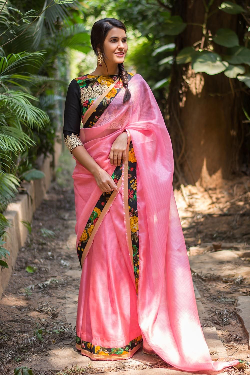 c375e5c4be4dd8 https   www.houseofblouse.com ready-to-shop-item pink-saree-863  saree   blouse  houseofblouse  indian  bollywood  summer  style  kota  babypink   pink  black ...