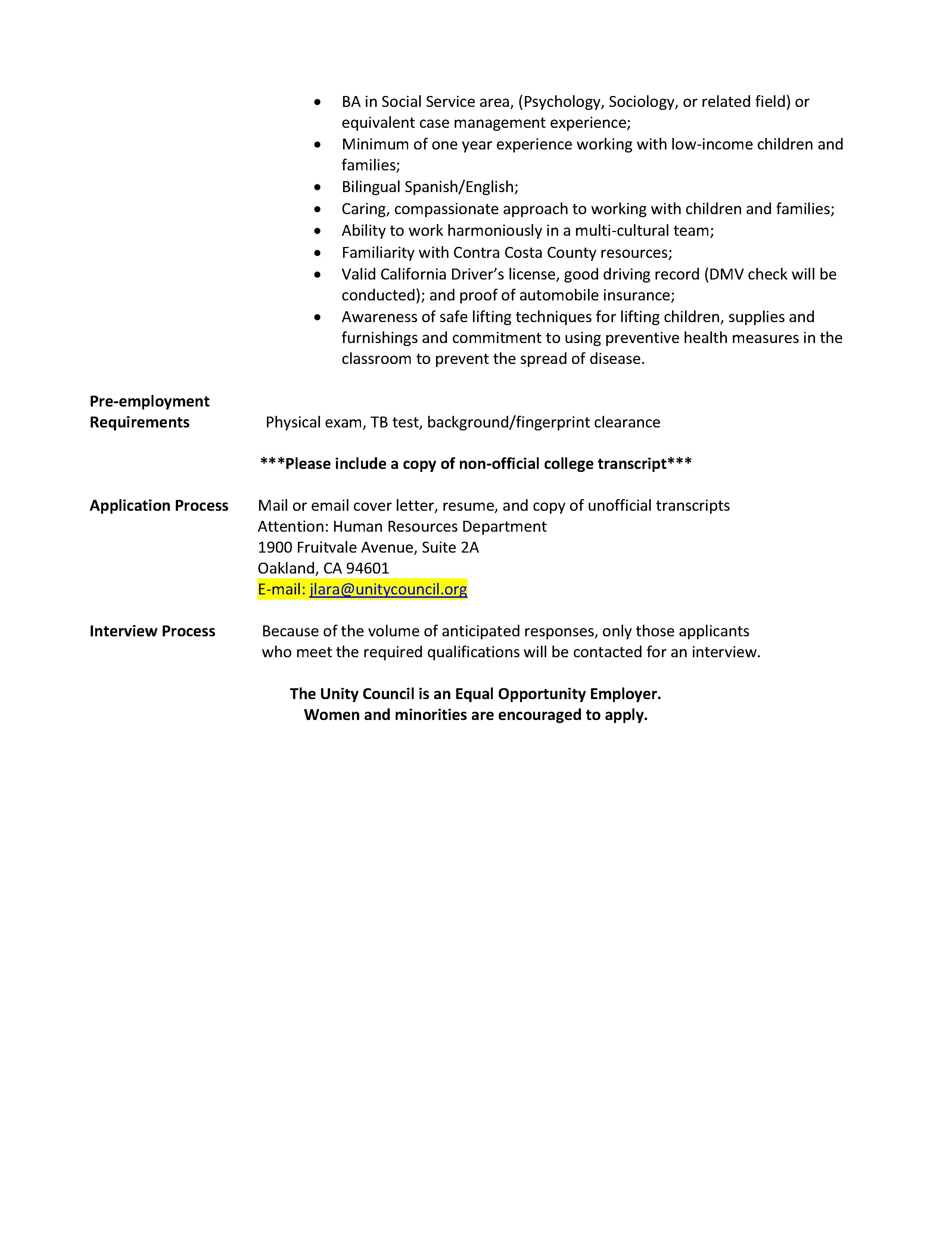 Family Advocate Needed For Our Concord Headstart Location