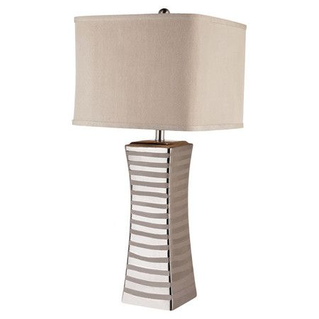 Metal Table Lamp With A Brushed Nickel Finish And Square Fabric Shade Product Table Lampconstruction Material Meta Lamp Table Lamp Metal Table Lamps