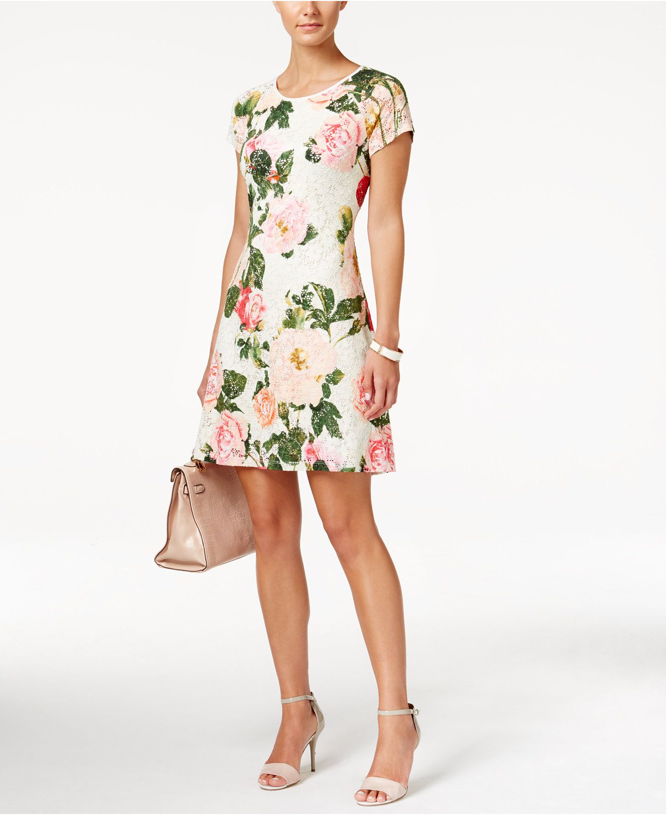 627bbe99ad Ronni Nicole Short-Sleeve Floral-Print Fit   Flare Dress - What s New -  Women - Macy s