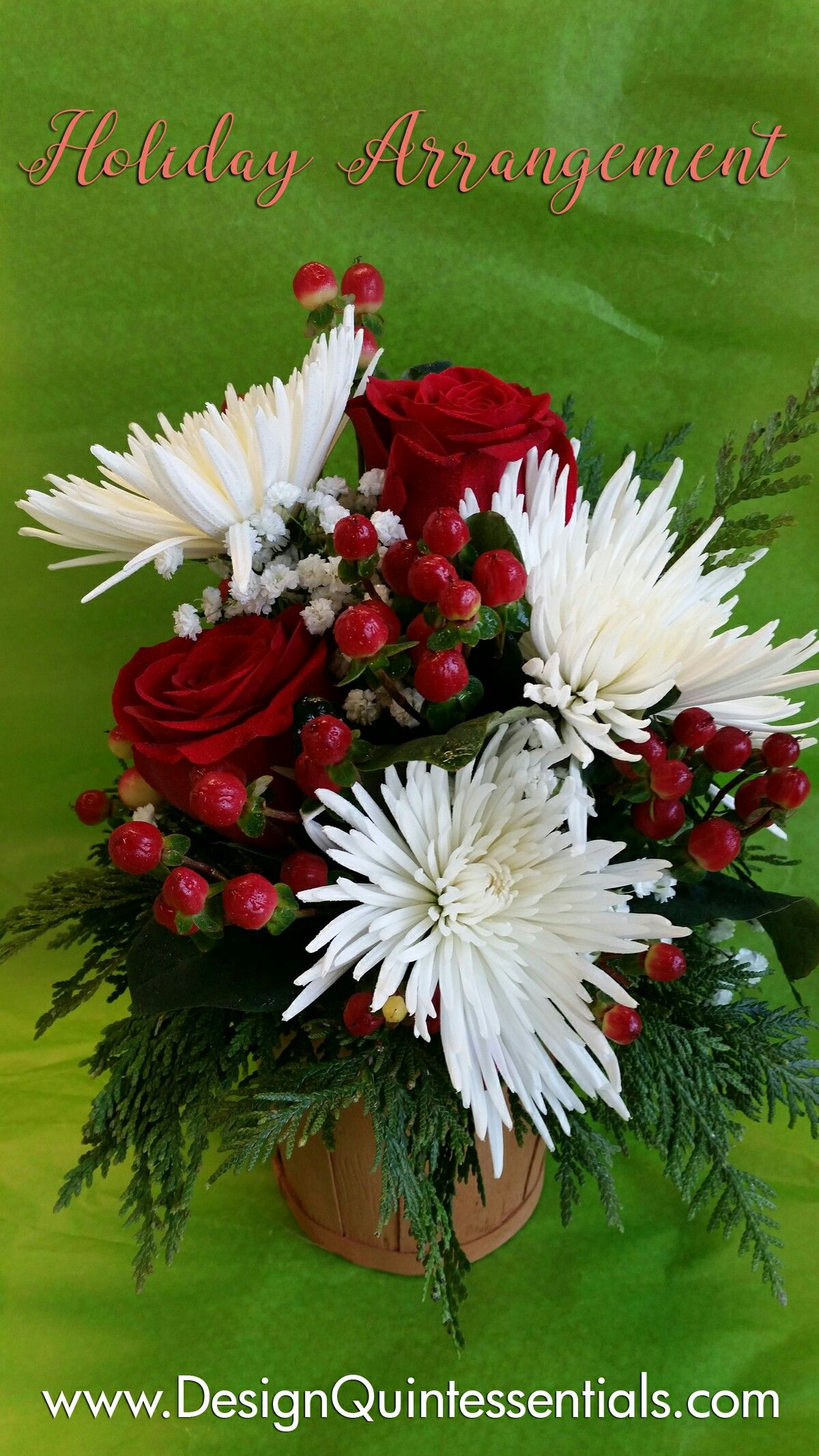 Christmas Arrangement With White Chrysanthemums, Red Roses And Red Hypercium