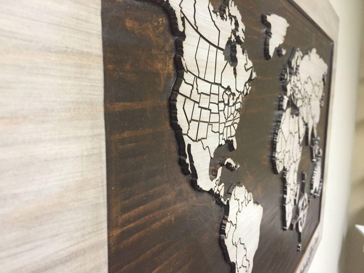 World Map Home Decor World Map With Countries States Wood Wall Art Carved World Map
