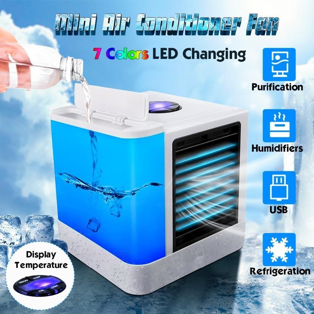 Portable Mini Air Conditioner Usb Air Cooler 7 Colors Led Light In 2020 Portable Cooler Portable Air Cooler Portable Air Conditioner