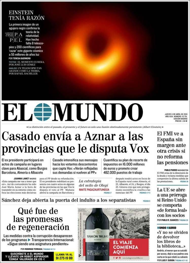 2019 04 11 Periódico El Mundo España Periódicos De España Toda La Prensa De Hoy Kiosko Net Einstein Periodicos De España Portadas De Periodicos