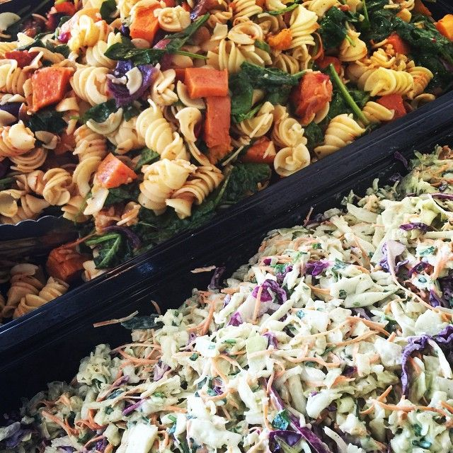 Pumpkin Spinach and Pasta Salad, Homemade Coleslaw. #salads #buffet #catering #spinach #pasta #pumpkin