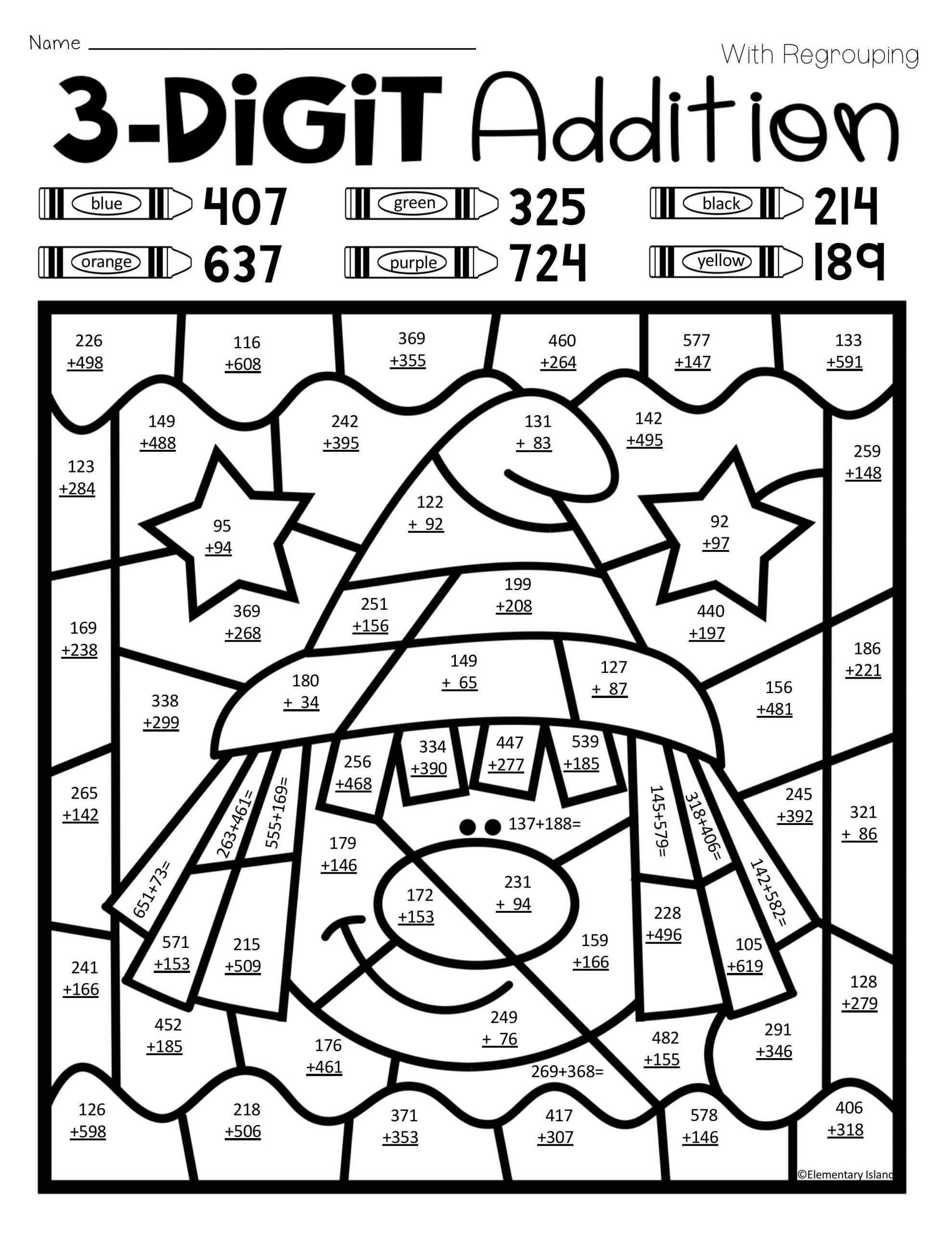 4 Free Math Worksheets Fourth Grade 4 Addition Add 3 Digit