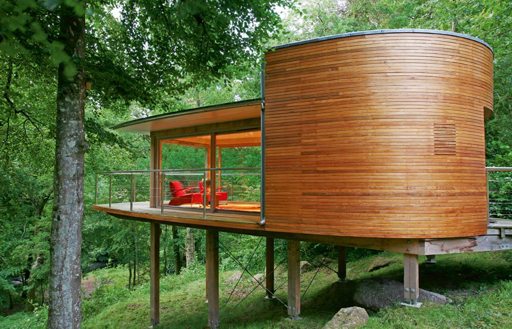 Contemporary curved timber tree house in devon small for Contemporary timber homes