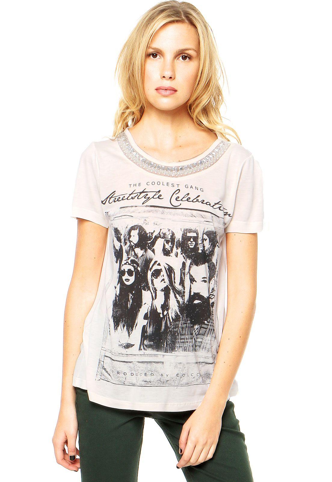 3499514fd Camiseta Colcci Off White | T-Shirt | Colcci, Tendencia inverno 2017 ...