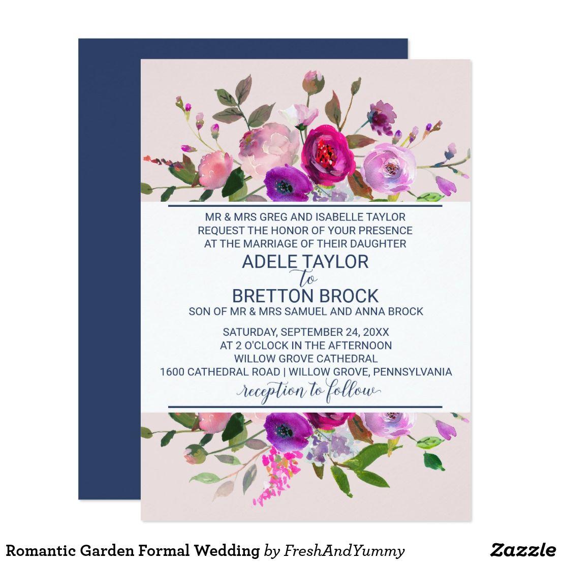 Romantic Garden Formal Wedding Invitation