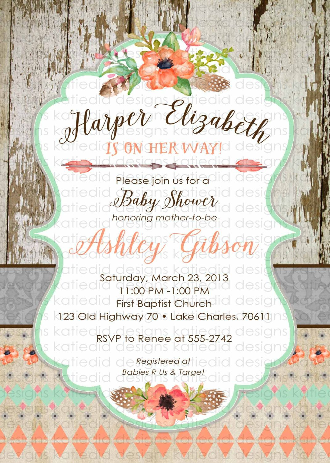 Tribal baby shower invitation couples Boho mint coral diaper wipes ...