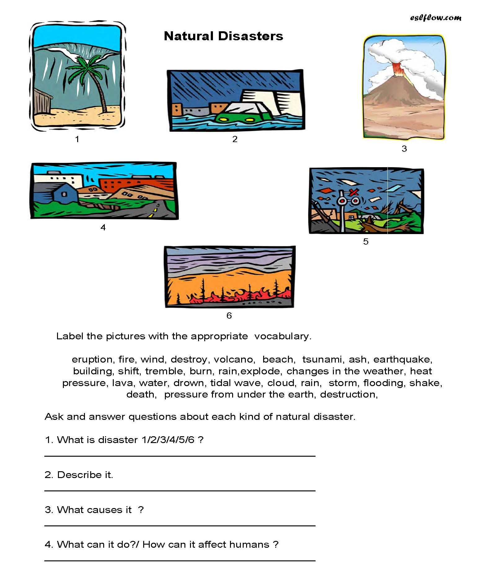 Natural Disasters Vocabulary Speaking Activity