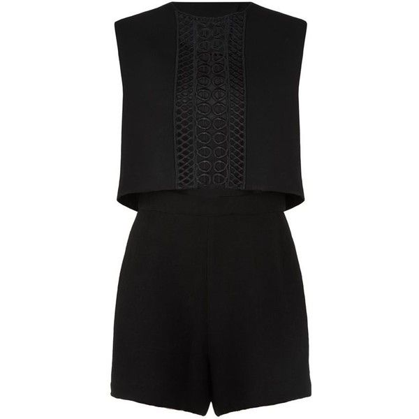 Maje Ruine Mesh Panel Playsuit (1.630 NOK) ❤ liked on Polyvore featuring jumpsuits, rompers, dresses, summer jumpsuits, loose jumpsuit, summer romper, playsuit romper and mesh inset jumpsuit